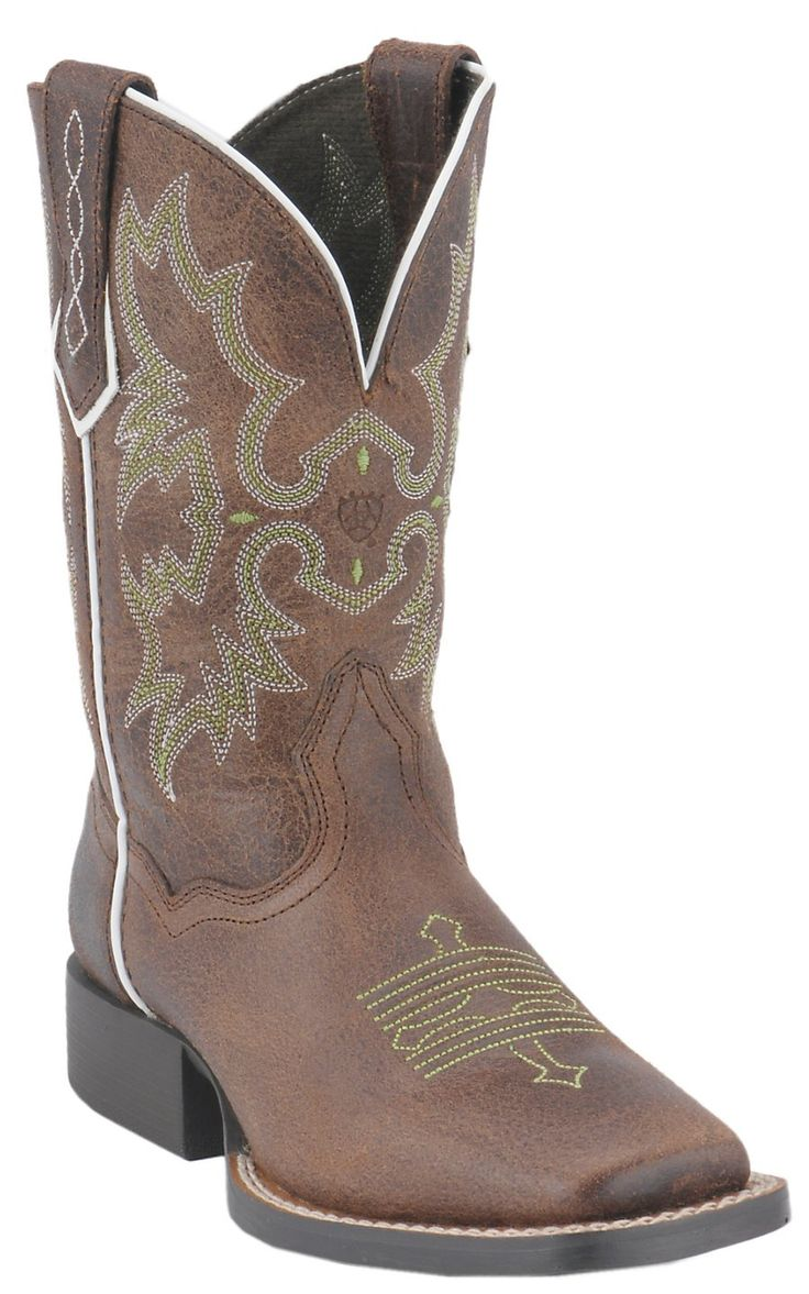 Ariat® Tombstone™ Youth Chocolate Brown w/ Green Stitching Square Toe Western Boots