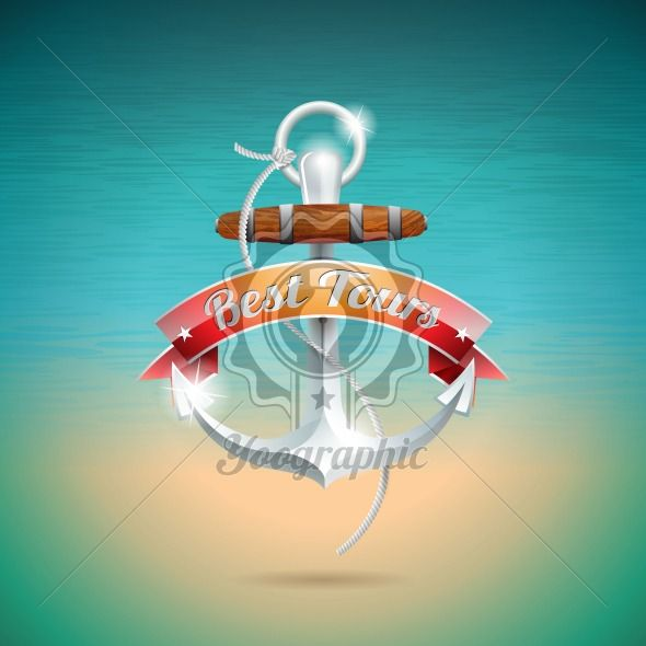 Vector Summer Holiday Design with anchor on blue sea background. - Royalty Free Vector Illustration