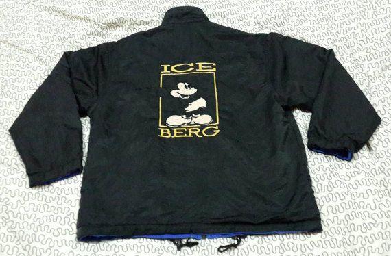 ICEBERG authentique fabriqué en Italie bon état de Mickey Mouse réversible veste Vintage brodé luxe italien mode