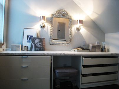 This is my closet which I designed.I had a custom vanity area built using an oro marble slab over an Ikea pax wardrobe cut in half and an EQ3 lacquer dresser