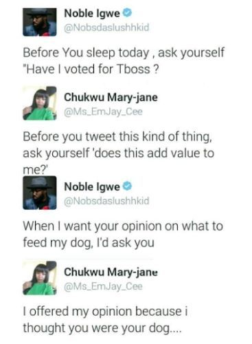 Lady Insults Noble Igwe Because Of TBoss?