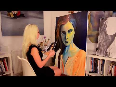 "Step by step, speed oil painting of ""Vanished into the blue"" by Oana Unc..."