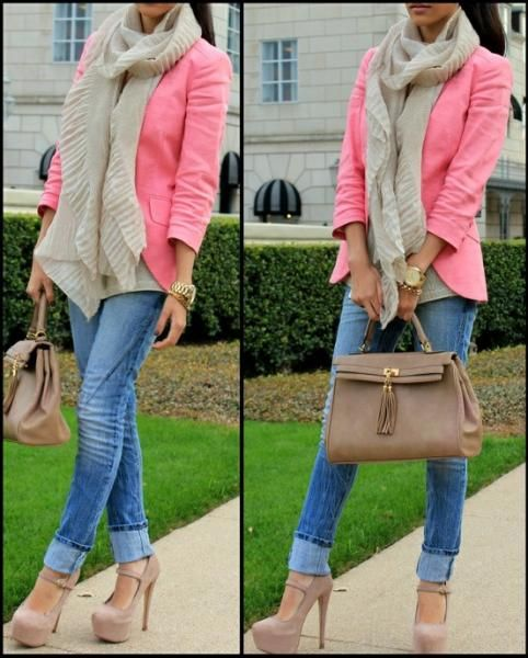 -Pink blazer, nude pumps, & gold jewelry...