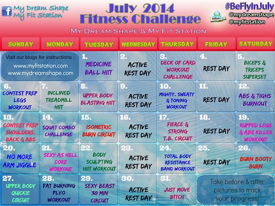 July Fitness Challenge ((free 31-day Printable Workout Calendar)) @myfitstation #workout #fitness