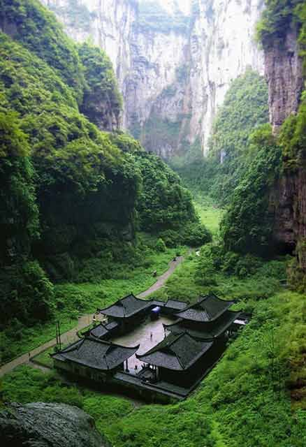 Temple at Wulong Natural Rock Bridges - Japan