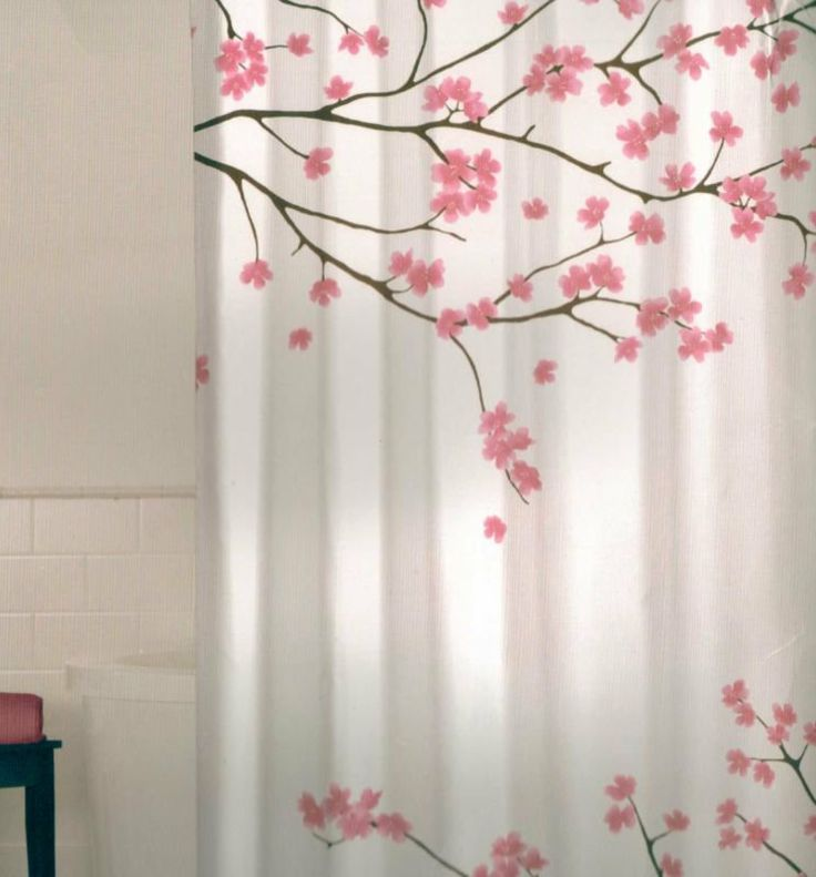 Floral Cherry Blossom Pink Brown White Quality Fabric Shower Curtain NEW
