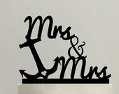 Anchor Wedding Cake Topper -  Mrs & Mrs - same sex -  Beach - destination wedding - anchor - nautical - cruise - lesbian - lgbt - gay