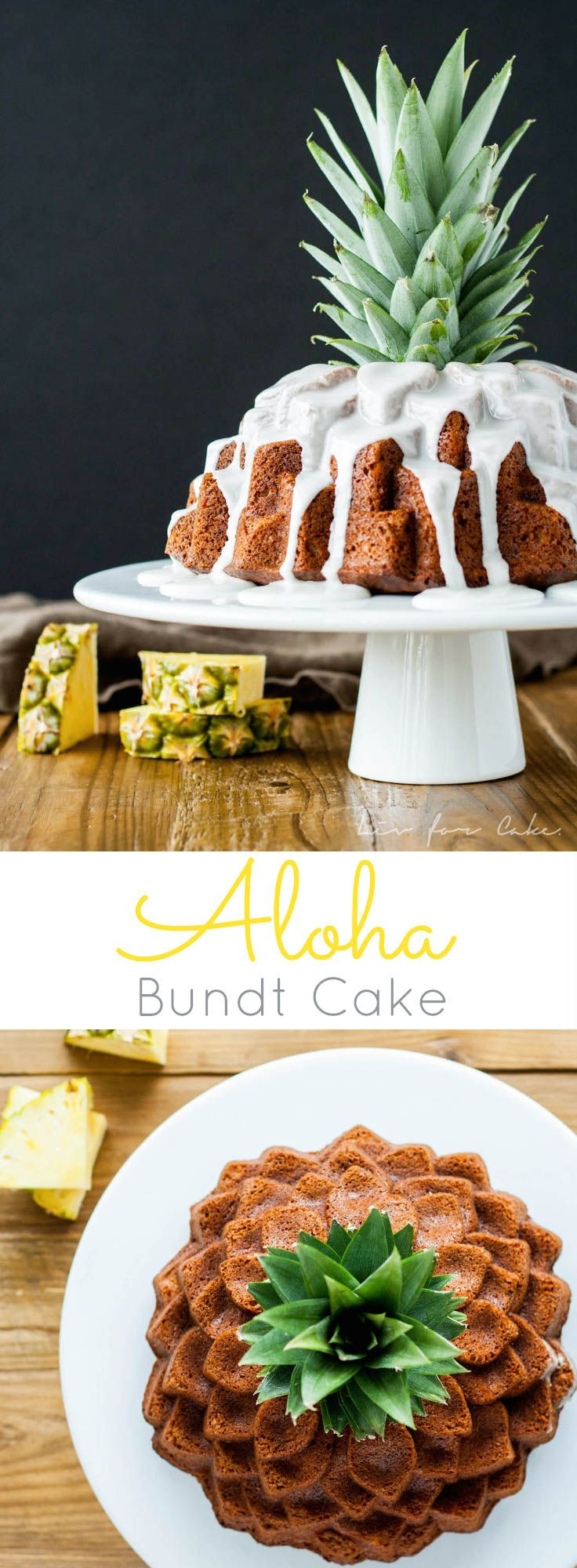 This Aloha Bundt cake is loaded with the very best Hawaii has to offer - bananas, pineapple, coconut, and macadamia nuts! | livforcake.com