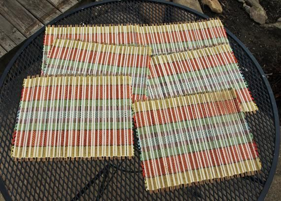 Multi Colored Rectangular Placemats Place Mats Bamboo With Etsy Placemats Rectangular Bamboo