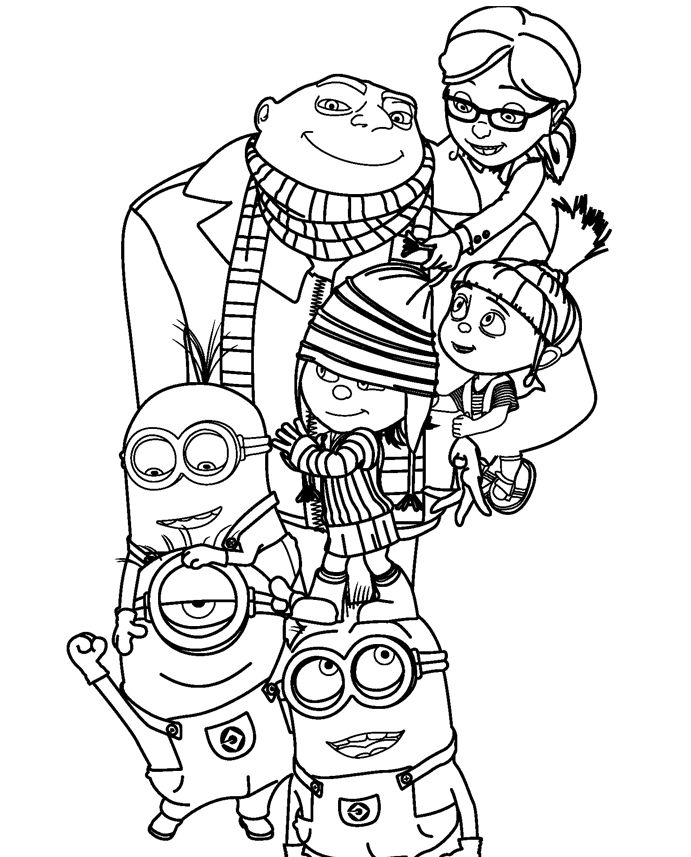 Despicable Me 2 Family Coloring Page
