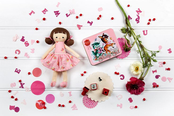 Audrey & Friends: Doll by Alimrose 'Audrey' in pretty Dusty Rose dress & little bows in her pig tails, made from printed 100% cotton. Height 25cm (designed in Australia) Stamp Set by Wu & Wu Animal Stamp Set includes 8 super cute self inking stamps in beautifully retro design tin