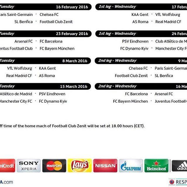 Schedule: Champions league 1/8 finals  #fcblive #FcBarcelona #igersFCB #Barcelona #UCL