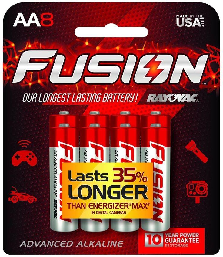 Rayovac 815-8CTFUS Fusion Long-Lasting Alkaline Batteries, AA, 8/Pack