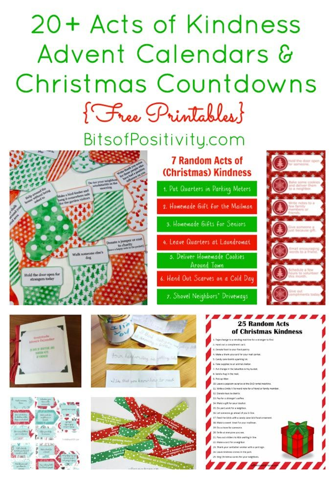 Roundup with 20+ acts of kindness Advent calendars and Christmas countdowns; post contains links to lots of free printables and kindness ideas for families