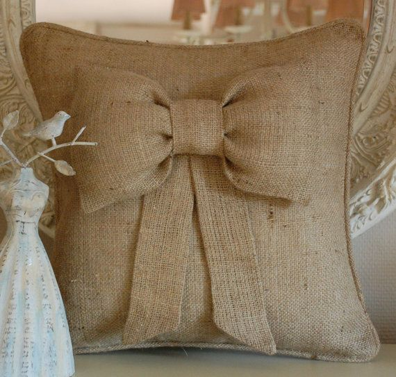 Puffy bow burlap pillow cover