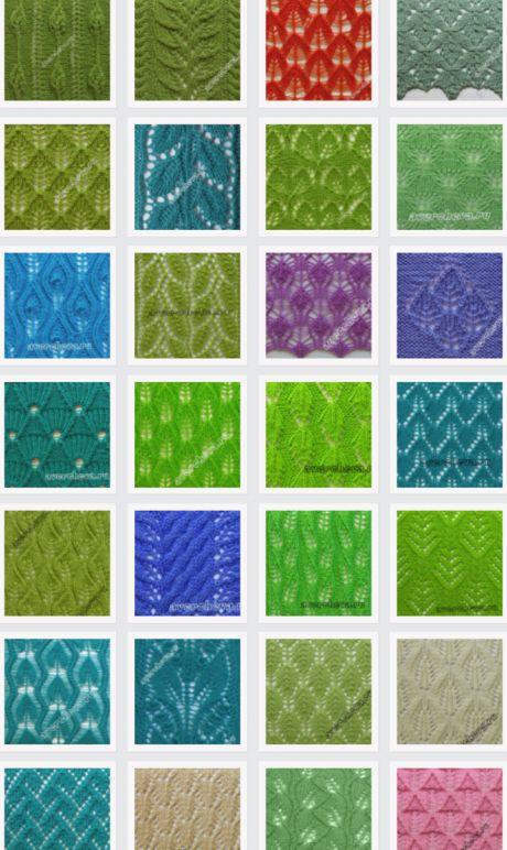 узоры спицами ажурные листочки | каталог вязаных спицами узоров