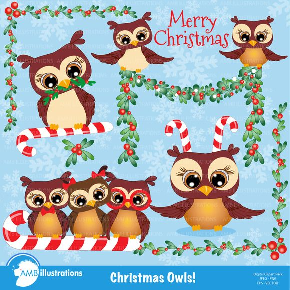 Christmas Owls Clipart - 278 by AMBillustrations on @creativemarket