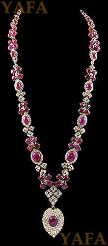 DAVID WEBB Cabochon Ruby,Emerald and Diamond Necklace - Yafa Jewelry