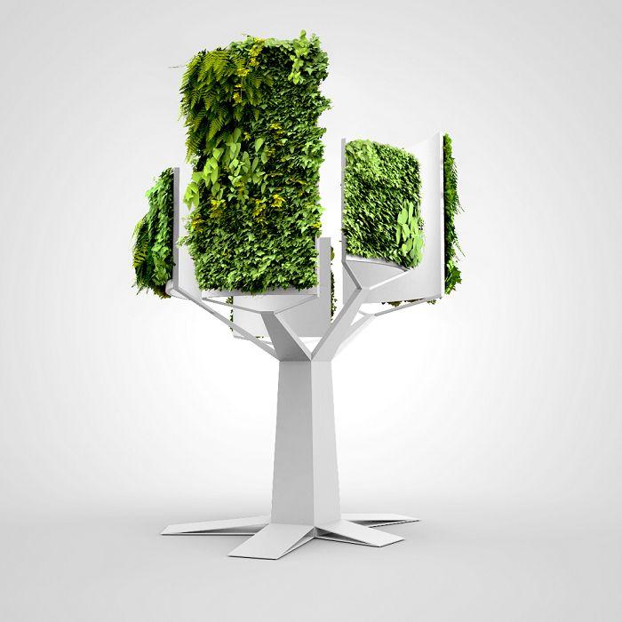 Green Fortune Tree, Green Fortune Nederland BV, Deze sculptuur van aluminium is gecombineerd met in totaal bijna 10 m2 aan Plantwall. Hierdoor ontstaat een spectaculaire boom van 4 meter hoog, die een geweldige toevoeging kan zijn aan grote ruimtes in gebouwen, zoals recepties, atria en dergelijke...