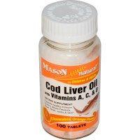 Mason Vitamins, Cod Liver Oil, with Vitamins A, C, & D, Chewable Orange Flavor, 100 Tablets