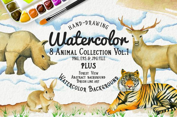 Watercolor Animal Vol.1 Plus by andypray on Creative Market