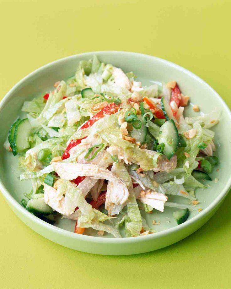 Shredded Chicken Salad in a quick peanut vinaigrette