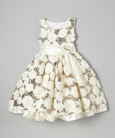 Look what I found on #zulily! Champagne Flower Sequin Dress - Infant, Toddler & Girls #zulilyfinds