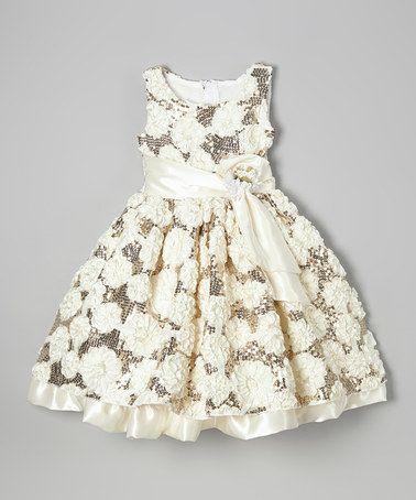Love this Champagne Flower Sequin Dress - Infant, Toddler & Girls on #zulily! #zulilyfinds