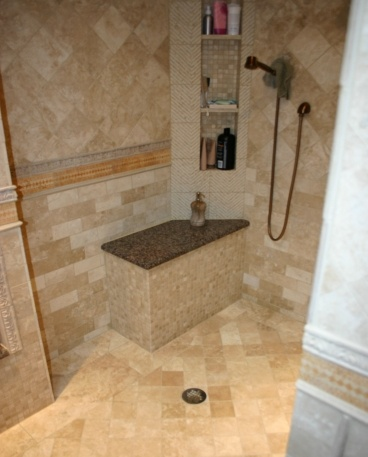 94 best images about travertin salle de bain on pinterest for Travertine tile in bathroom ideas