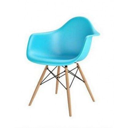 Krzesło Eiffel Wood Arm Premium insp. DAW  niebieskie