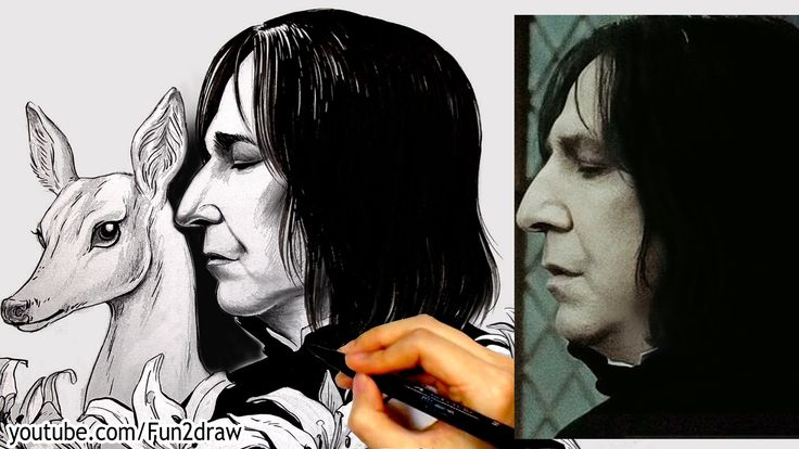 Drawing Alan Rickman - Snape from Harry Potter - Art Tribute by Mei Yu