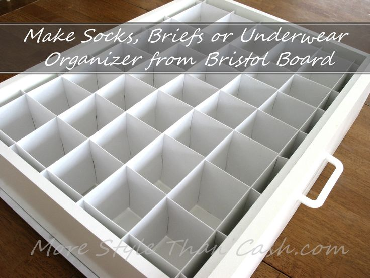 Make a easy inexpensive socks, briefs or underwear organizer form Bristol board. Custom fit it to any drawer with this easy tutorial.