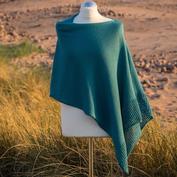 Petrol Seashore Cotton Asymmetric Poncho