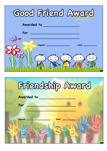 good friend award certificate  free teaching resource