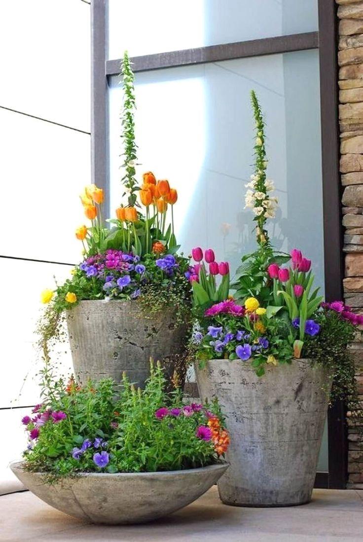 Concrete Spring Flower Pot Display