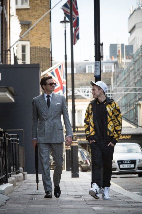 Still of Colin Firth and Taron Egerton in Kingsman: The Secret Service (2014) | Essential Film Stars, Colin Firth http://gay-themed-films.com/film-stars-colin-firth/
