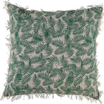 Green Palm Print Cushion 45x45cm