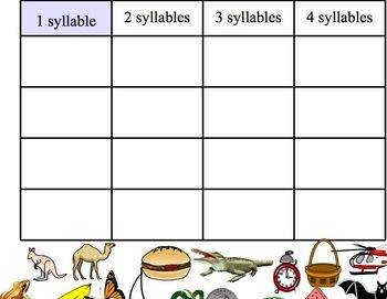 A SmartBoard Notebook activity used to sort pictures into groups according to the number of syllables in the name of each picture. Categories for 1...