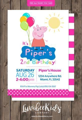 Peppa Pig Birthday Invitation Dots   Free Backside & Thank You Card