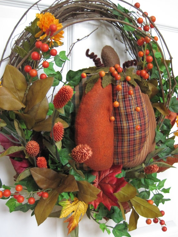 PUMPKIN-EATER Puffy Fabric Pumpkin Wreath by Fun Florals on Etsy