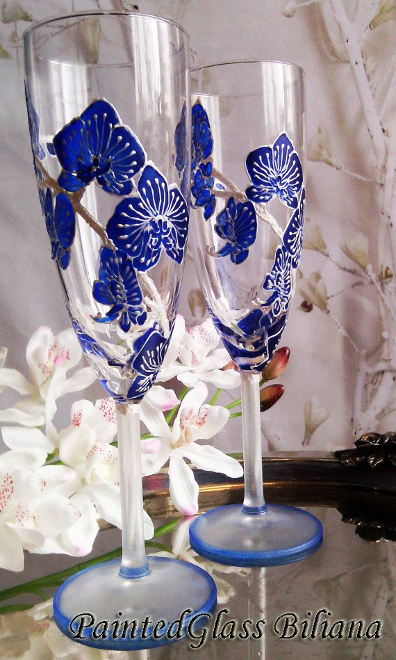 Wedding Glasses Royal Blue orchid Champagne Flutes Hand Painted Set of 2 Orchid theme weddingWedding Glasses Royal Blue orchid Champagne by PaintedGlassBiliana