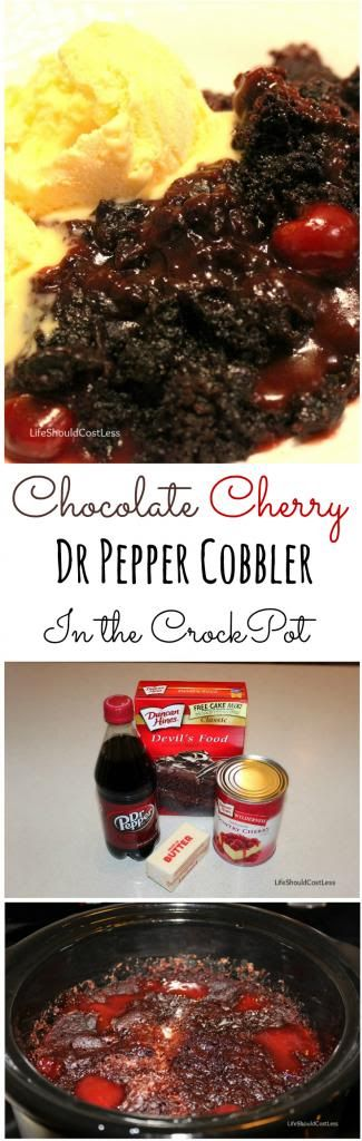 Chocolate Cherry Dr Pepper Cobbler. A delicious and gooey treat that is ready after only five minutes of prep and  two hours in the CrockPot!