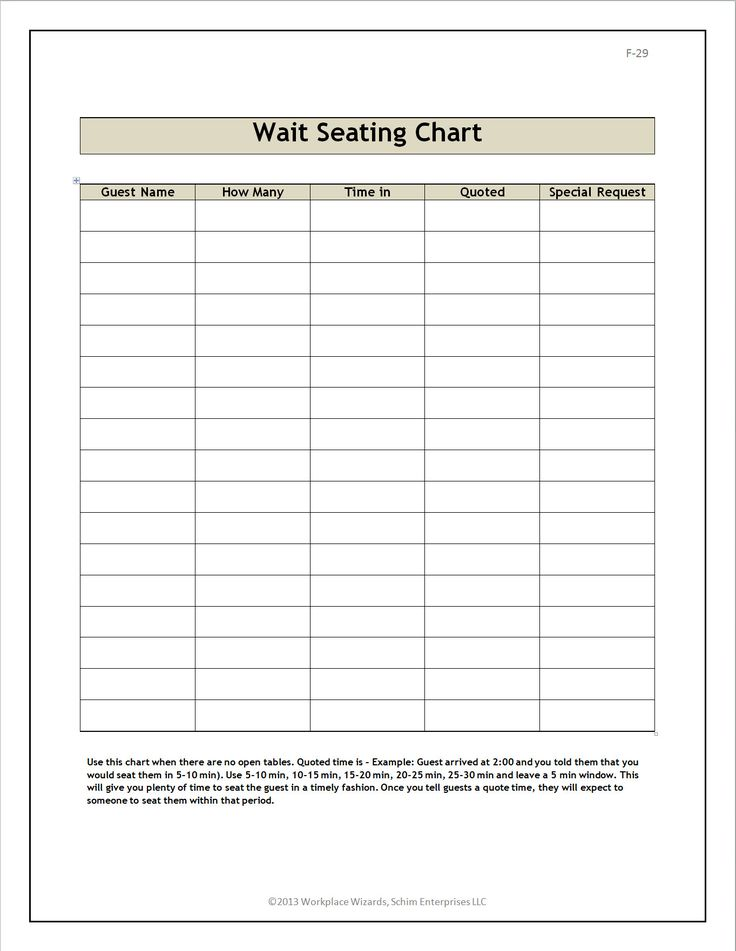 28 Free Restaurant Seating Chart Template in 2020