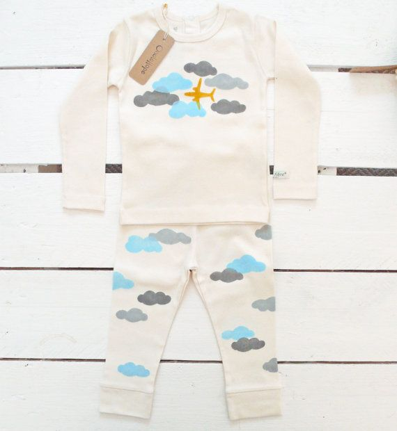 Clouds handprinted organic baby leggings by OncleHope on Etsy
