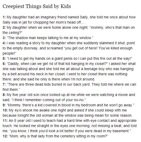 Creepy things said by kids