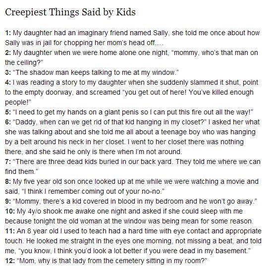 Creepy things said by kids