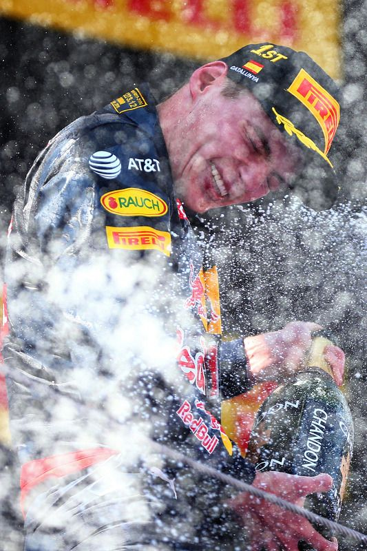 Max Verstappen, Red Bull Racing celebrates his first win