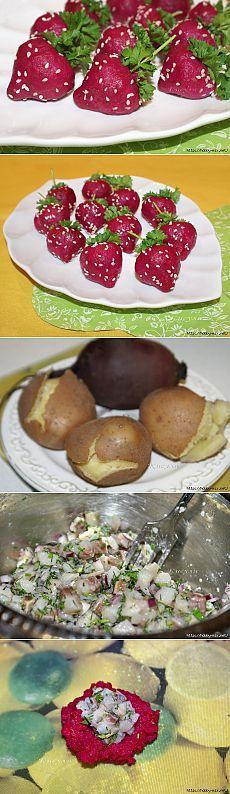 """""""Клубничка""""- закуска из сельди и свеклы."""