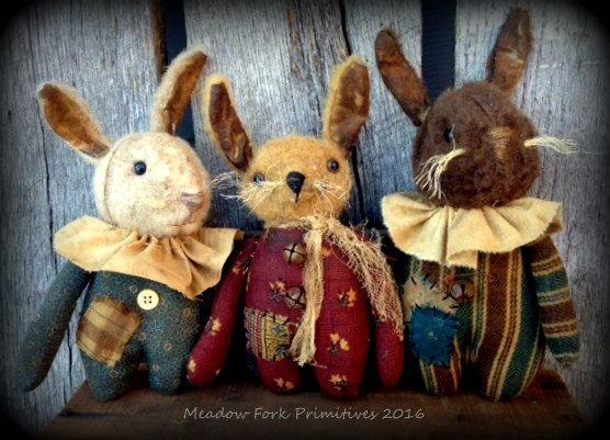 Primitive Art populaire petits lapins Bitty--peluche feutre-artisanal-Pâques-printemps-Hafair équipe, Faap