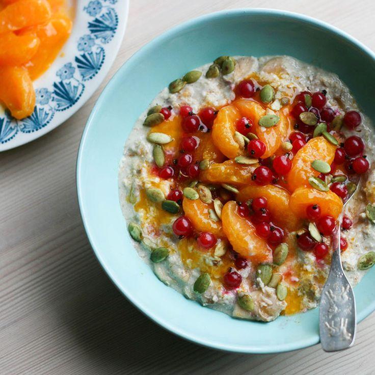 Maikin mokomin: Tuorepuuro inkiväärisatsumilla | Overnight oats with ginger poached satsumas